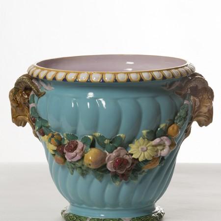 Minton, Vase fruits et fleurs, H. 38 cm, La. 55 cm ø 41 cm