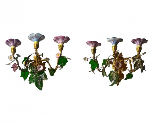 Pair of 19th Century Sconces in Gilt Bronze