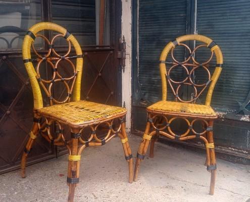 yellow rattan chairs
