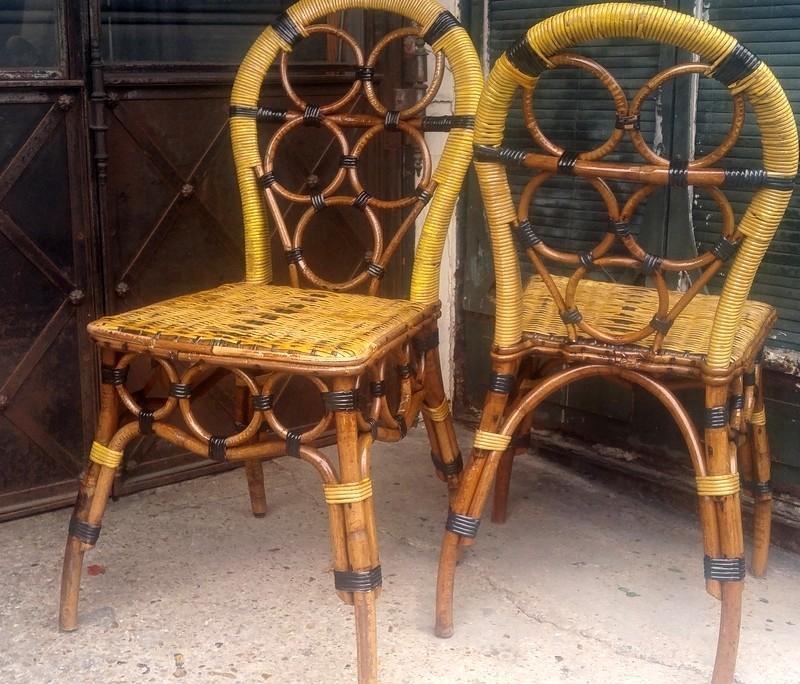chaises en rotin jaune