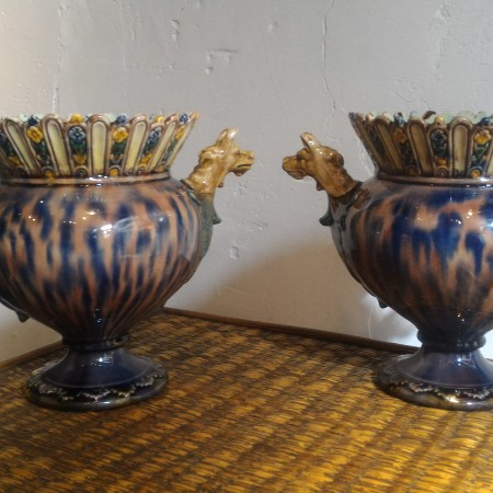 Pair of protome vases, Thomas Victor Sergent