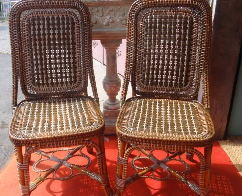 pair of rattan chair