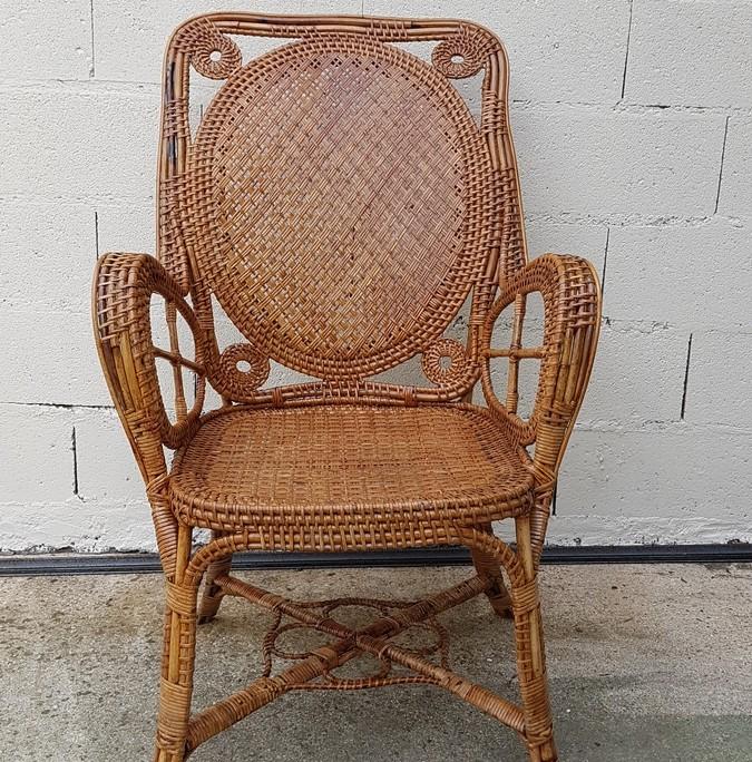 fauteuil en rotin m daillon perret vibert galerie. Black Bedroom Furniture Sets. Home Design Ideas