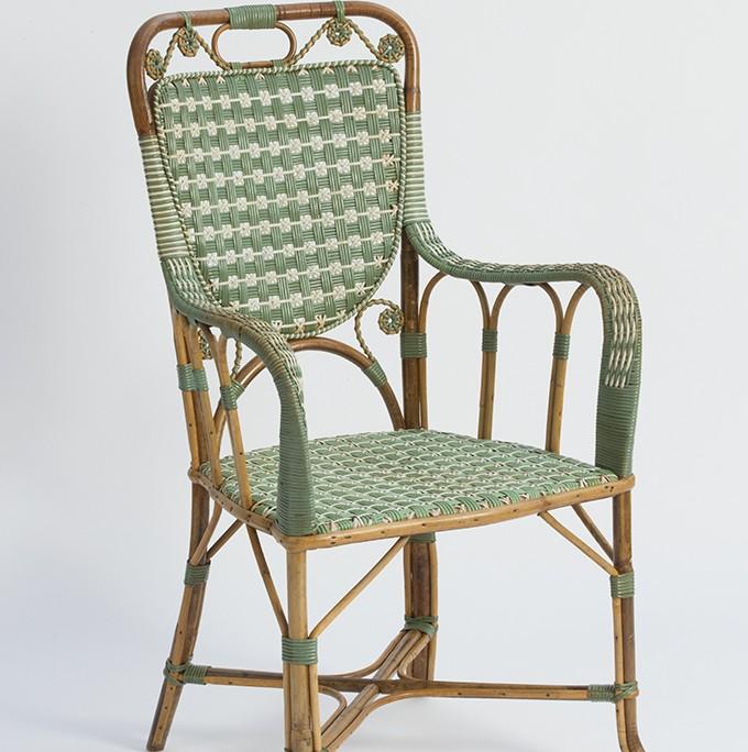 Green Rattan Armchair