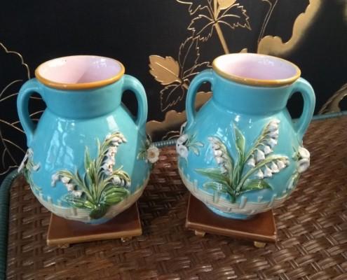 Paire de petits vases muguet