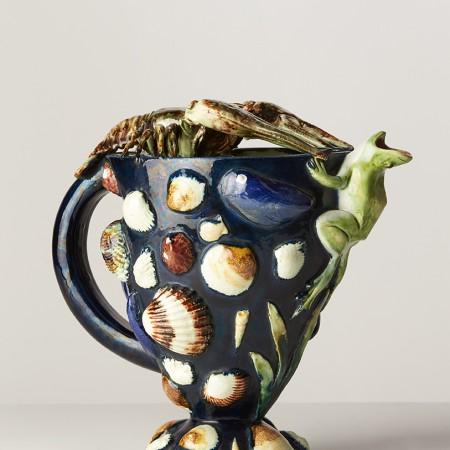Aiguière aux coquillages, grenouille et crustacés,Thomas Victor Sergent