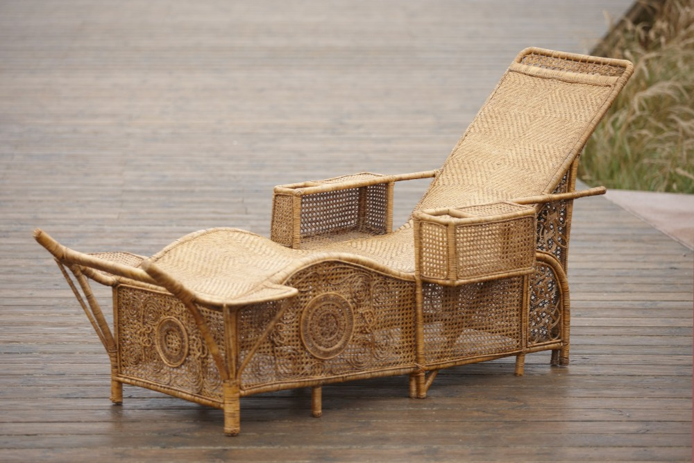 Chaise longue en rotin vers 1900 galerie vauclair - Chaise longue en anglais ...
