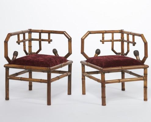 paire de fauteuils d'angle en bambou