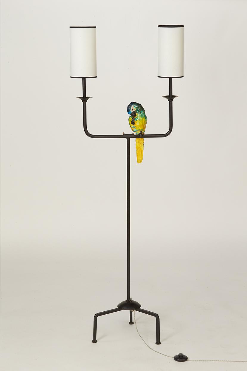 lampadaire perroquet en céramique