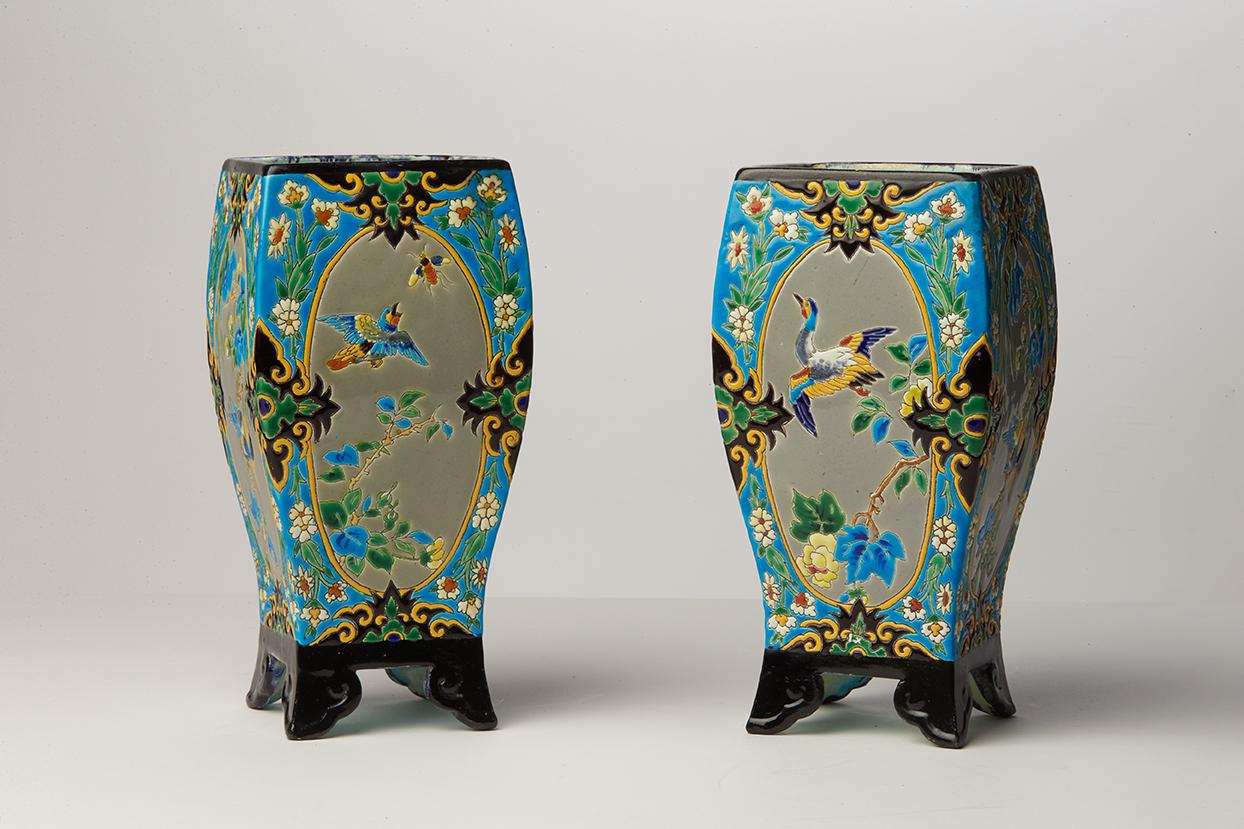 Paire de vases quadrangulairesPaire de vases quadrangulaires