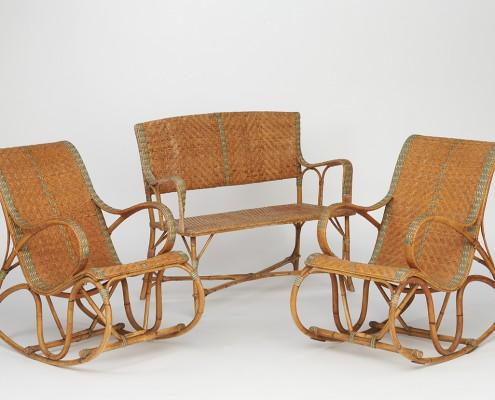 Rocking-Chair et banquette en rotin