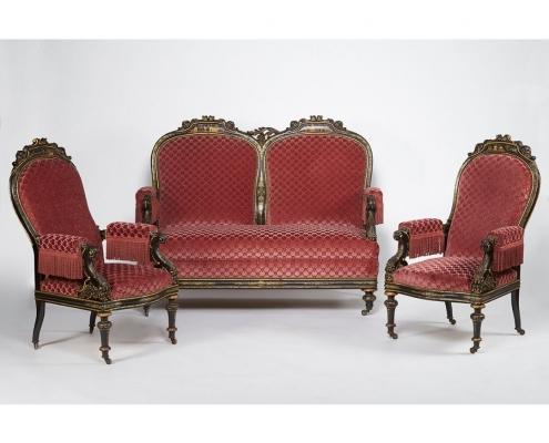 Salon velours rose Napoléon III